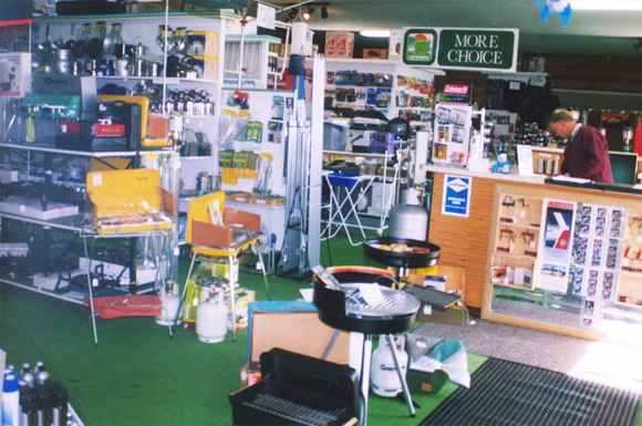 Inside White Heather's Camping & Outdoor store.